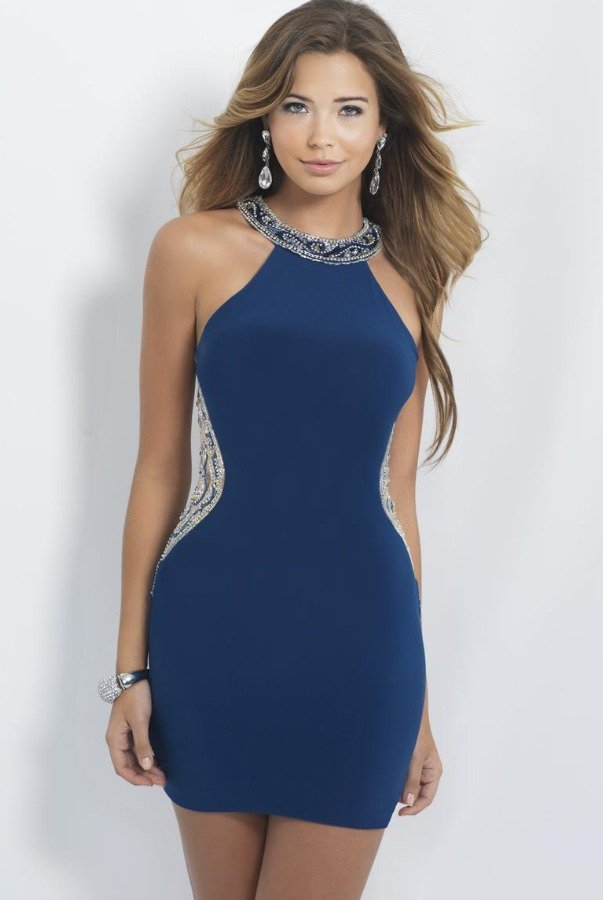 Blush Prom Blue Jeweled Beaded Illusion Short Cocktail Dress