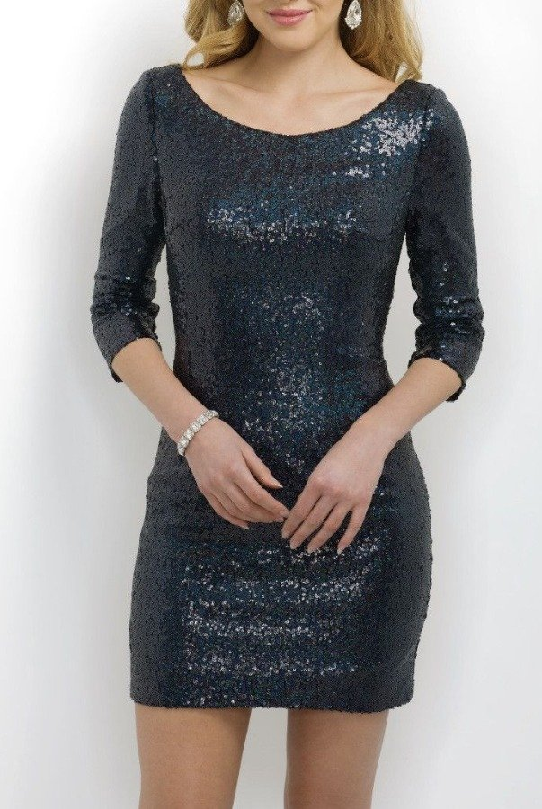 c67f403cf187a Blush Long Sleeve Navy Blue Sequin Mini Cocktail Dress | Poshare
