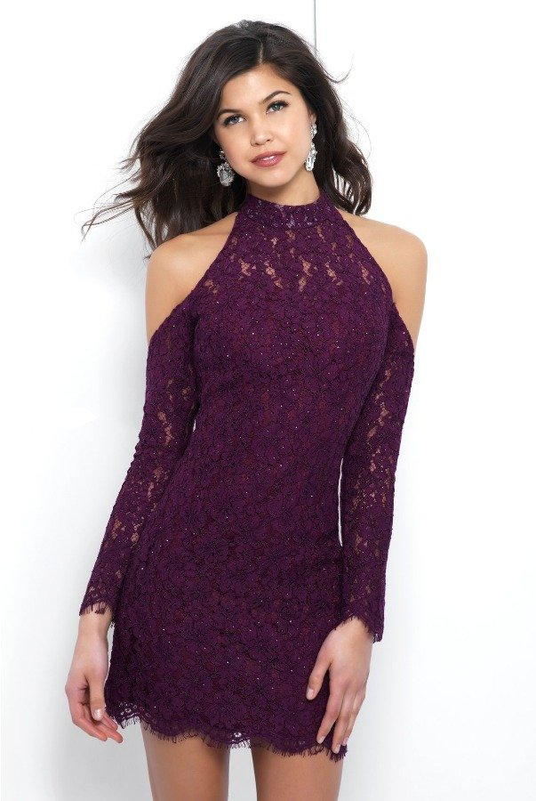 Blush Prom C418 Maroon Lace Cold Shoulder Cocktail Dress