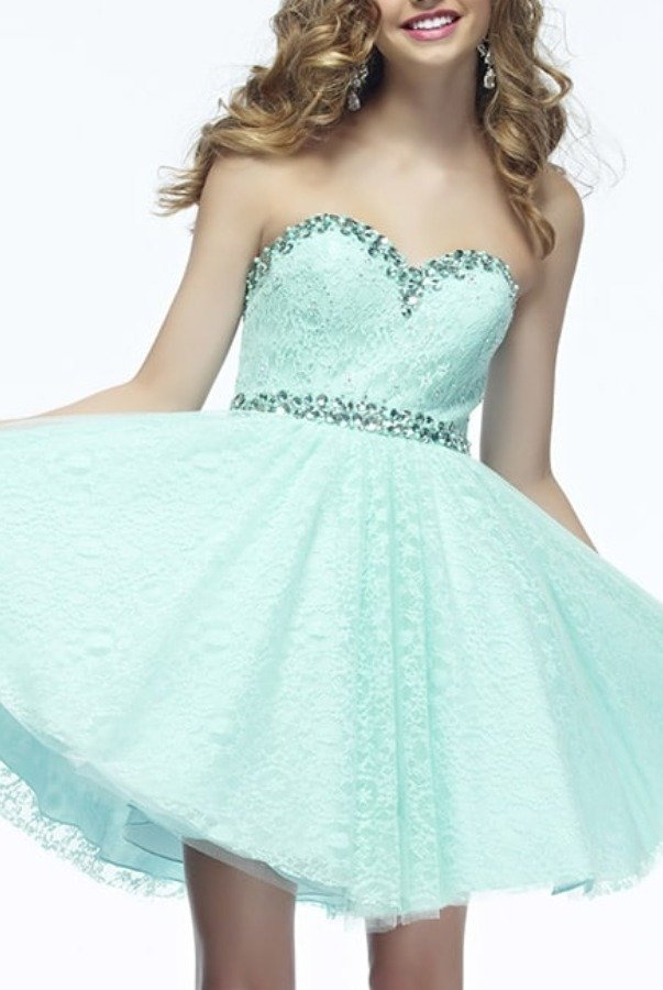 Riva Designs L670 Mint Lace Strapless Homecoming Party Dress