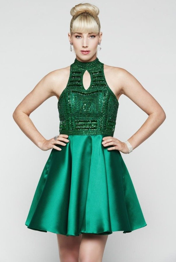Milano Formals Emerald Green Beaded Homecoming Party Dress