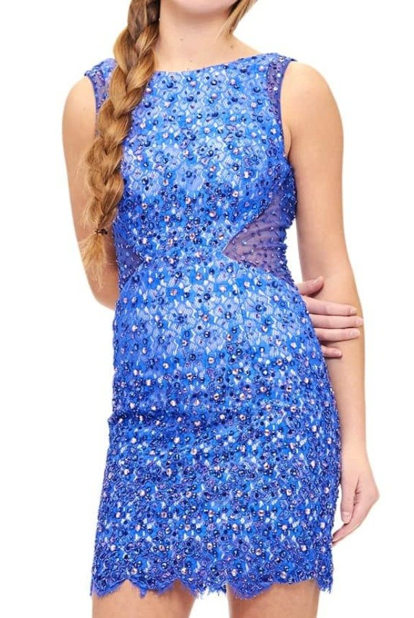 Milano Formals E1947 Blue Lace Beaded Mini Cocktail Dress