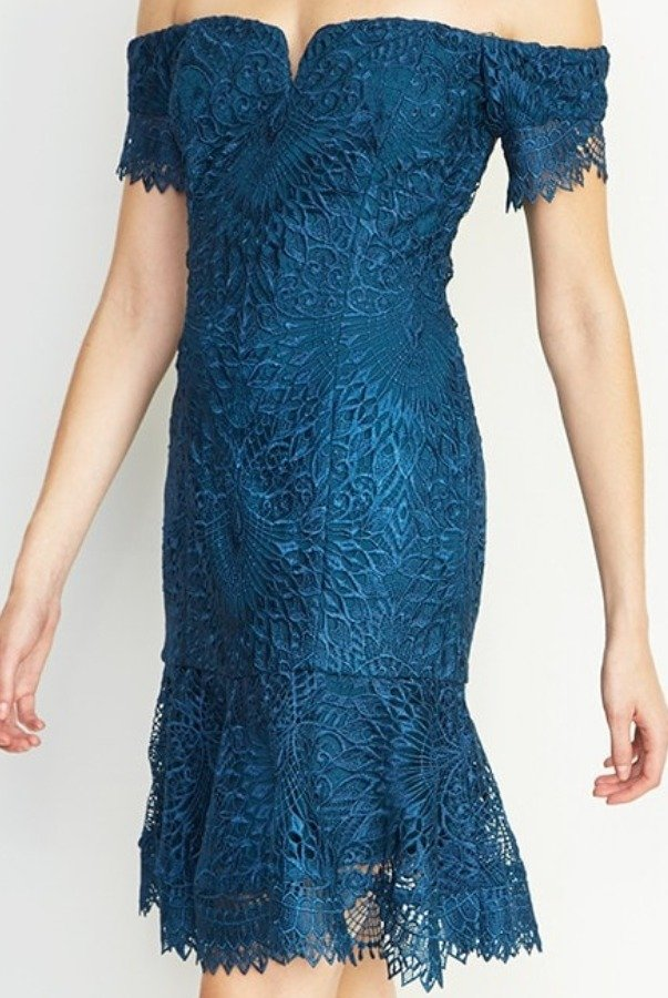 Nicole Miller Teal Lace Off Shoulder Scalloped Cocktail Dress