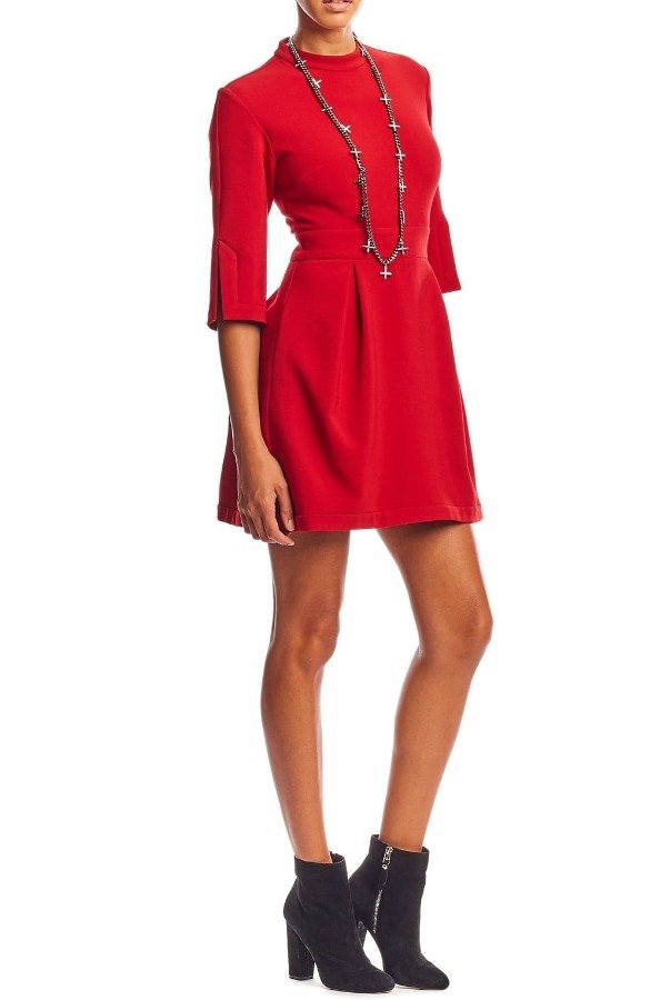 Nicole Miller Red Stretchy Quarter Sleeve Mock Neck Short Dress