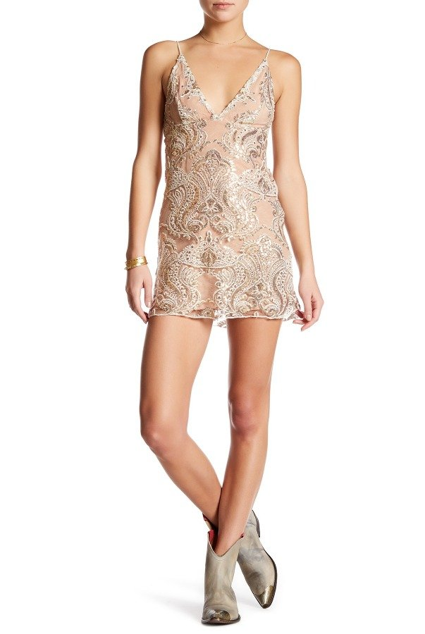 Free People Night Shimmer Mini Beaded Lace Cocktail Dress