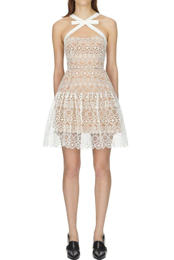 Self Portrait White circle floral lace mini dress