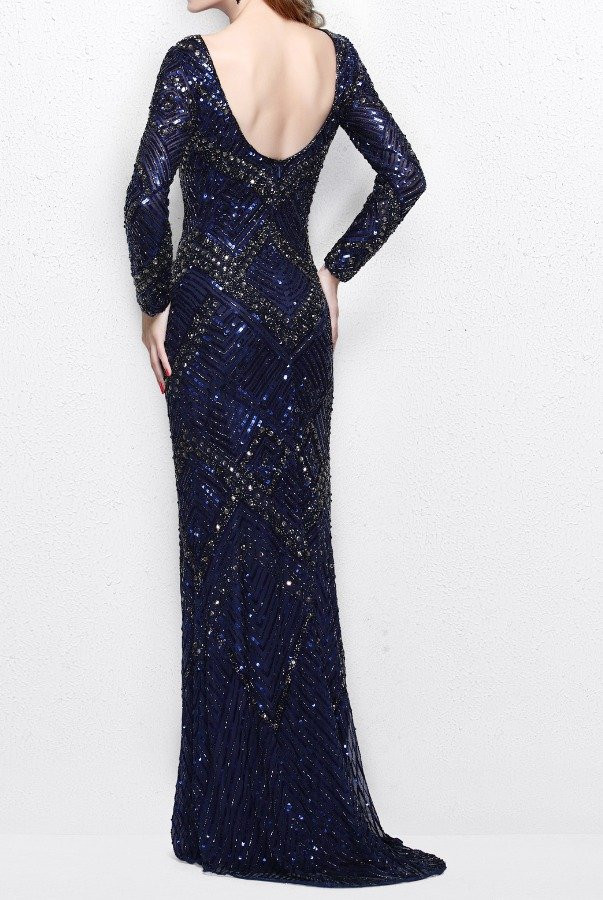 Primavera Couture 1737 Long Sleeved Evening Gown in Navy Blue