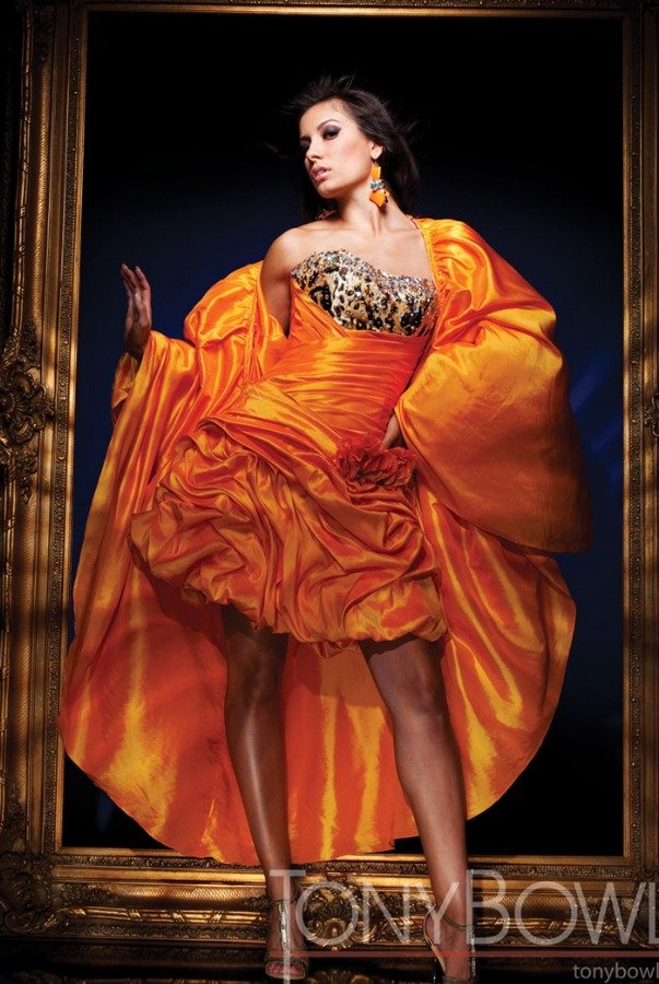 Tony Bowls Orange Convertible Gown Beaded Taffeta