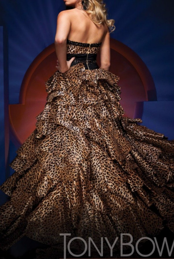 Tony Bowls Leopard Print Pageant Gown High Low Beaded Dress
