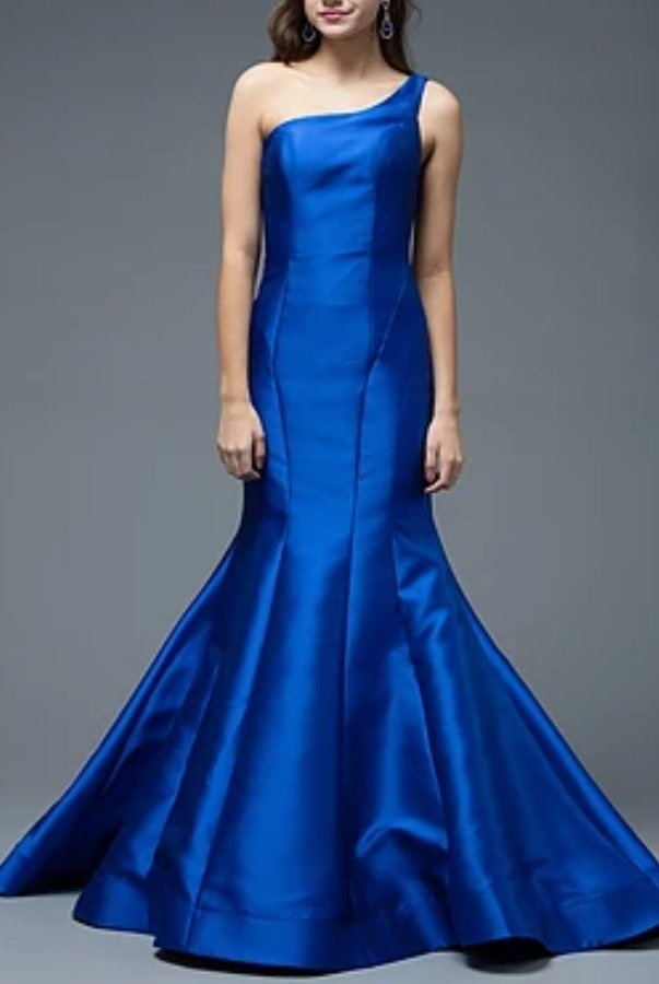 Colors Dress 1739 Royal Blue Evening Gown One Shoulder Dress