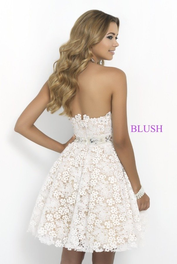 Blush Prom White Strapless 3D Floral Fit and Flare Lace Dress