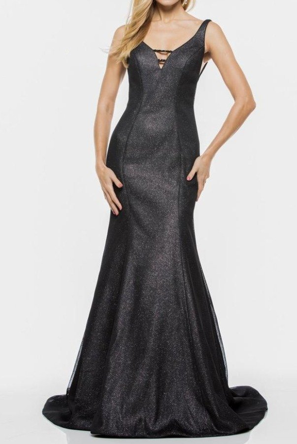 Colors Dress 1932 Shiny Black Plunging V Neck Evening Gown