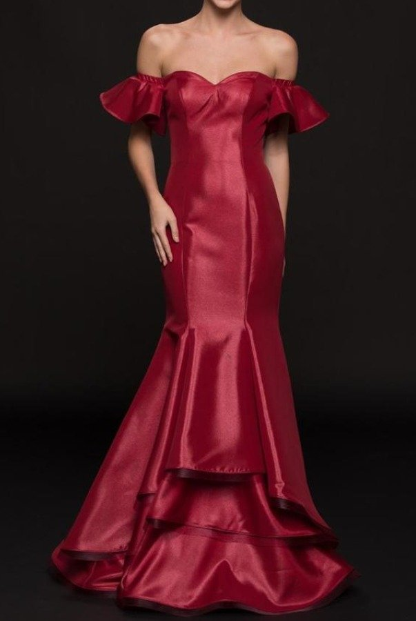 Colors Dress G793 Wine Red Off Shoulder Ruffle Evening Gown