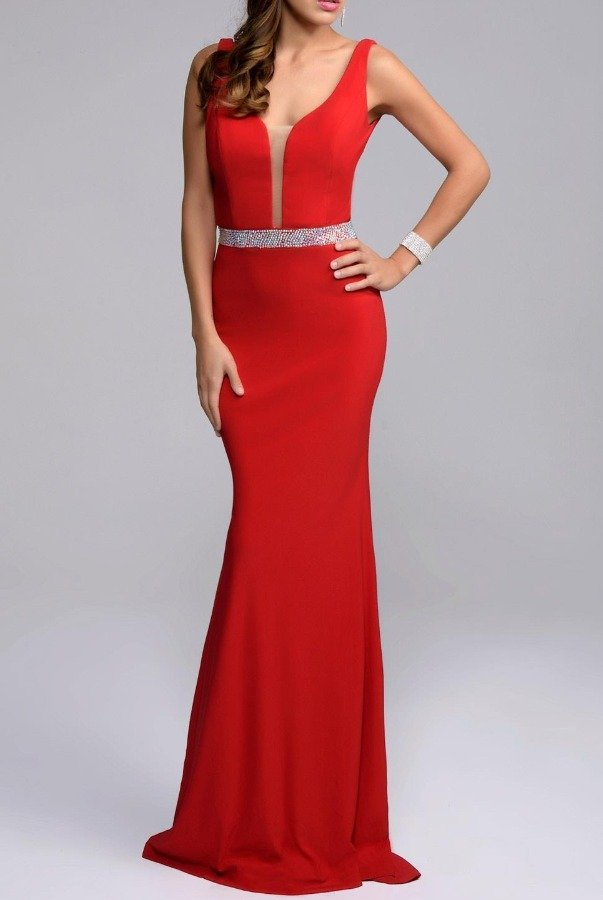 Nina Canacci Plunging V Neck Red Evening Gown With Belt Detail