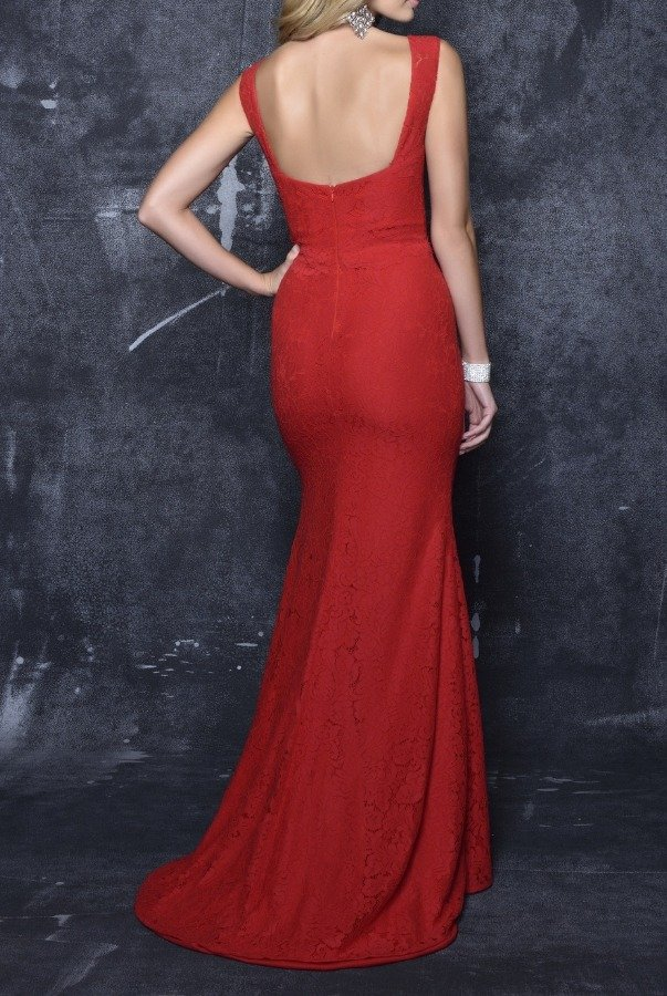 Nina Canacci 7354 Red Lace Plunging V Neck Evening Gown Dress