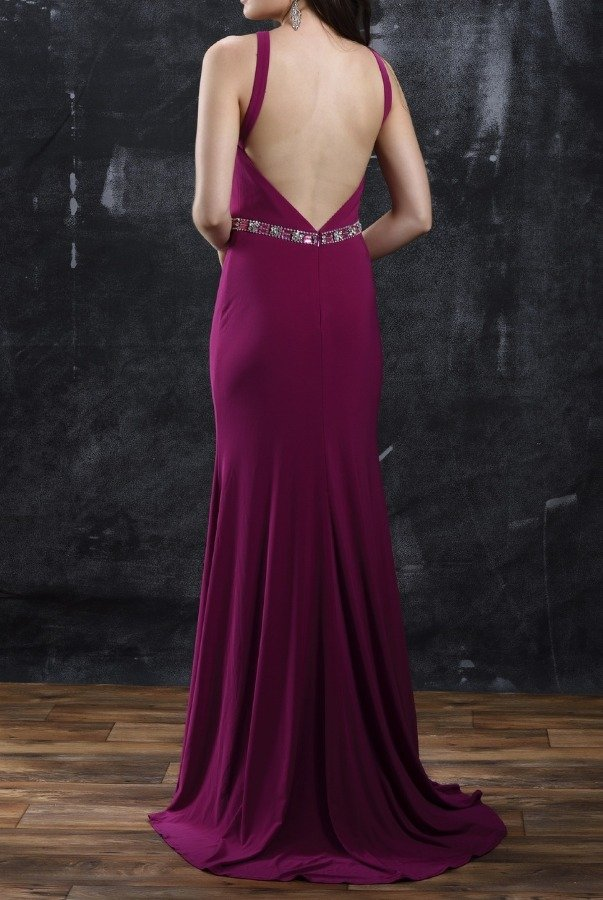Nina Canacci 1321 Magenta Pink Open Back Evening Gown