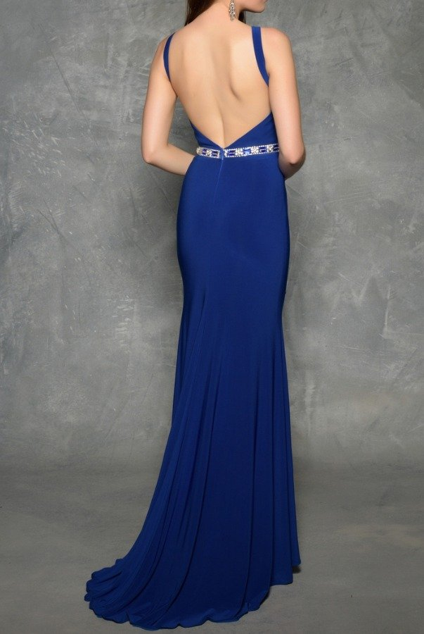 Nina Canacci 1321 Royal Blue Open Back Evening Gown