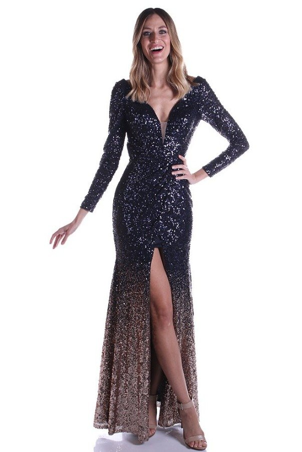 Lending Luxury Couture Long Sleeve Sequin Beaded Navy Gold Ombre Gown