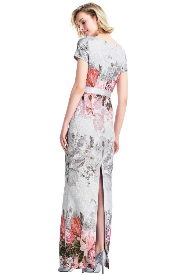 Adrianna Papell Cap Sleeve Ice Blue Floral Print Gown