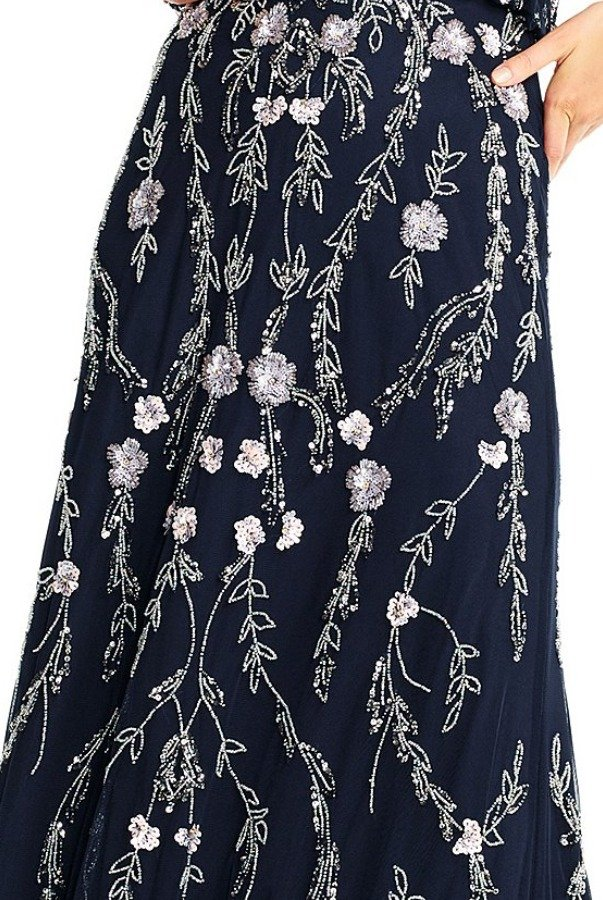 Adrianna Papell FLORAL BEADED BLOUSON GOWN NAVY PROM FORMAL