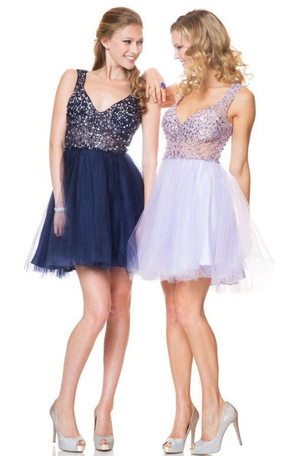 Shimmer Midnight Blue Tulle A Line Dress P0315
