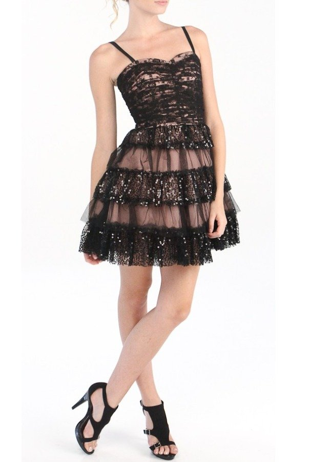 Betsey Johnson Gorgeous A Line Black Sequin cocktail Party Dress