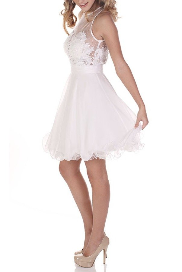 Clarisse 2653 White Illusion Lace A Line Party Dress