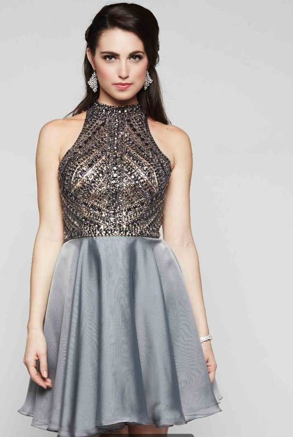 Milano Formals Silver Beaded Halter Neck Cocktail Party Dress
