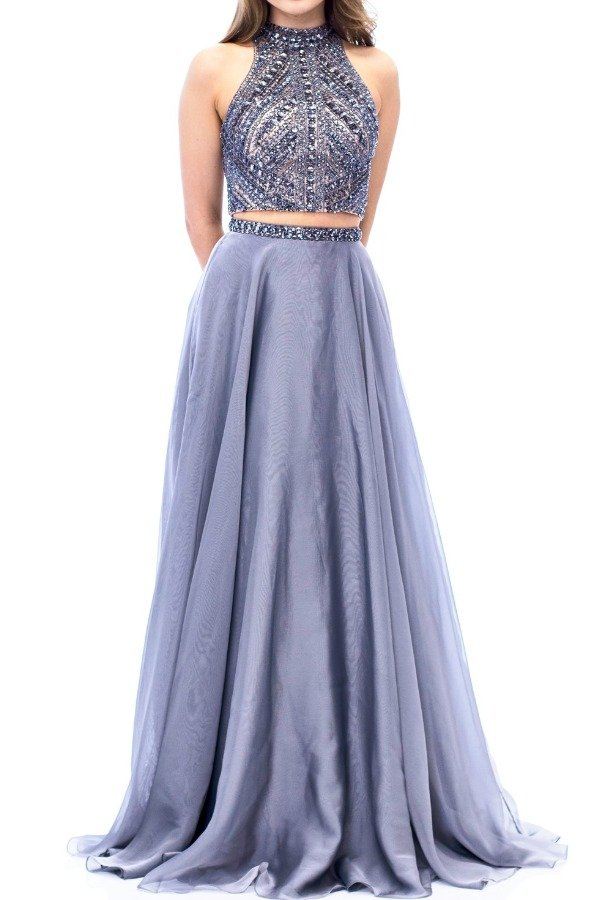 Milano Formals E1940 Silver Gunmetal Beaded Two Piece  Gown Dress