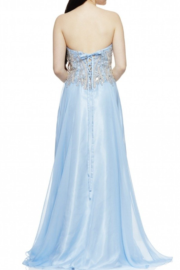 Dave and Johnny Light Blue Jeweled Embellished Strapless Dress