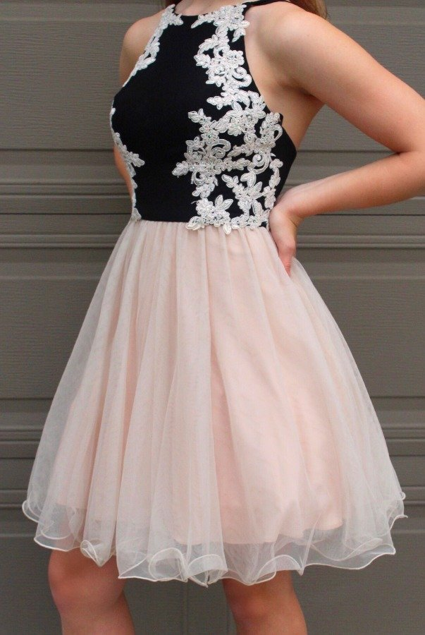 Blondie Nites High Neck Lace Embroidered Sweetheart Party Dress
