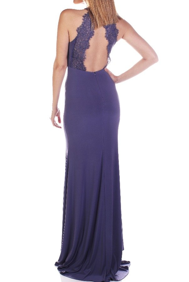Clarisse 3048 Smoky Halter Evening Gown with Keyhole Cutout