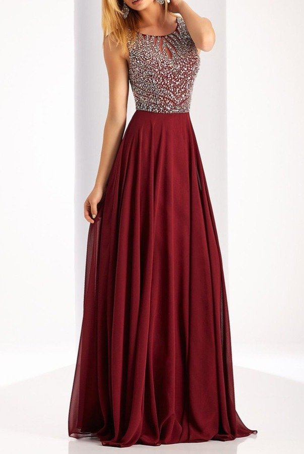 Clarisse 3167 Marsala Wine Glittering Beaded Evening Gown