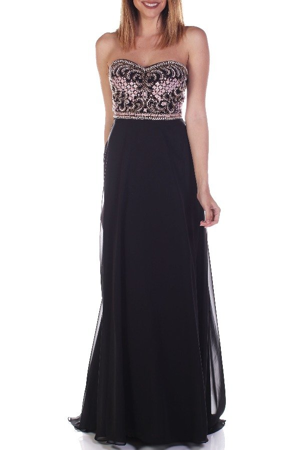 Madison James 16353 Black Blush Beaded Strapless Evening Gown | Poshare
