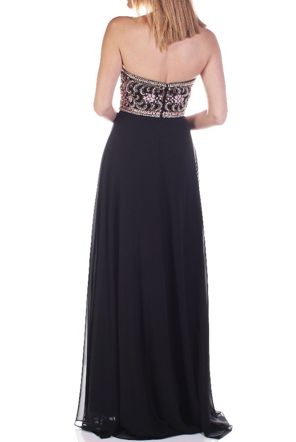 Madison James 16353 Black Blush Beaded Strapless Evening Gown