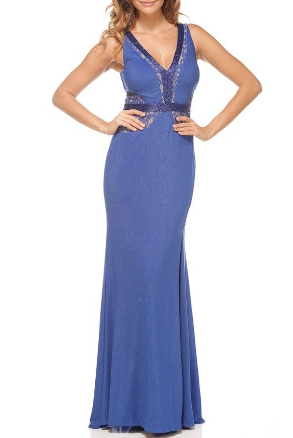 Alberto Makali 183696 Cobalt Blue Shimmering Jersey Lace Gown