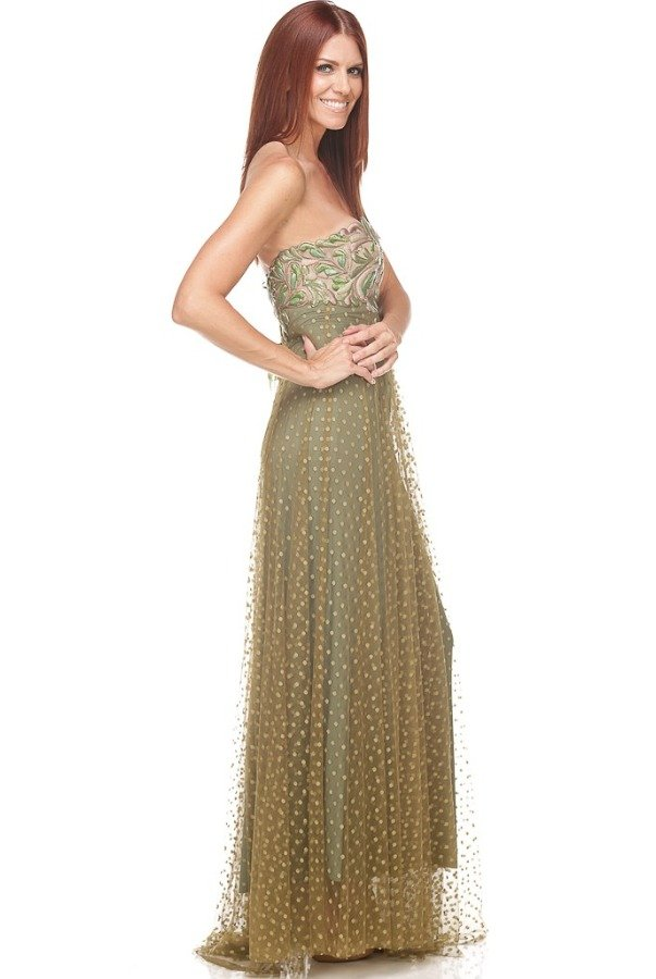 Ema Savahl Olive Green Gold Corset Lace Up Evening Dress Gown Poshare