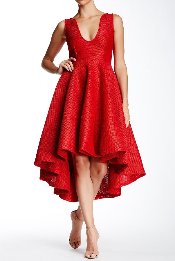 Issue New York Red Honeycomb Dress High Low A Line Gown