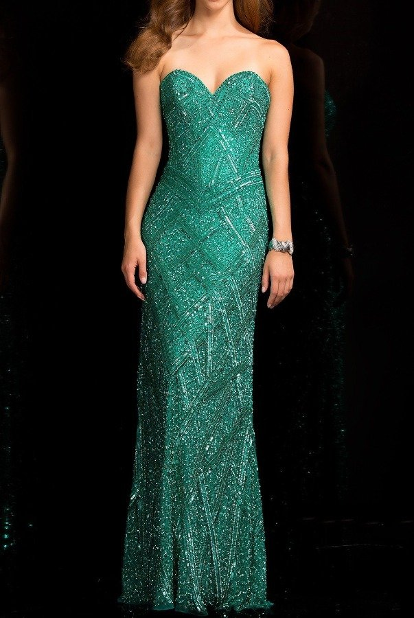 Scala Strapless Beaded Sparkling Jade Column Gown