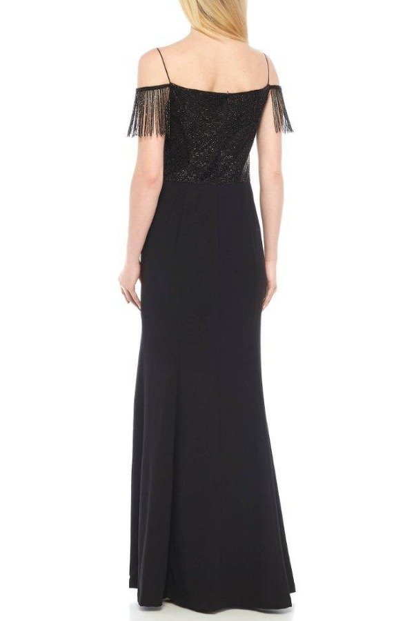 Adrianna Papell Black Beaded Drape Evening Gown Dress