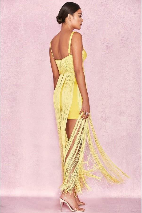 House of CB Yellow Emee Fringe Dress evening Gown