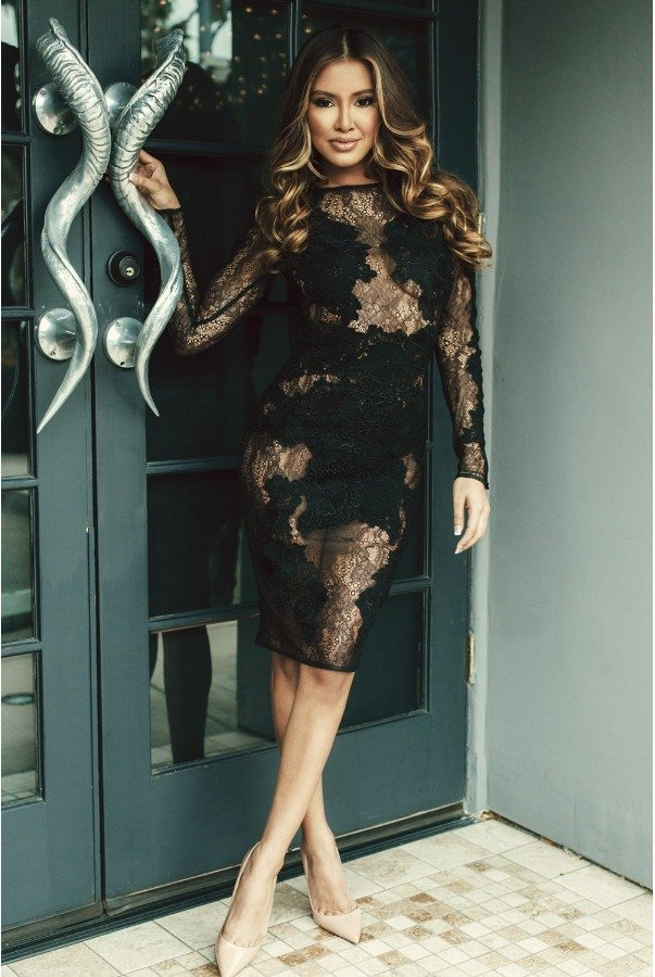 House of CB Black Lace Long Sleeve  Nolita Cocktail Dress