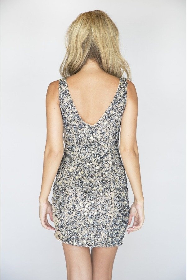 Jovani Silver Beaded Nude Cocktail Dress
