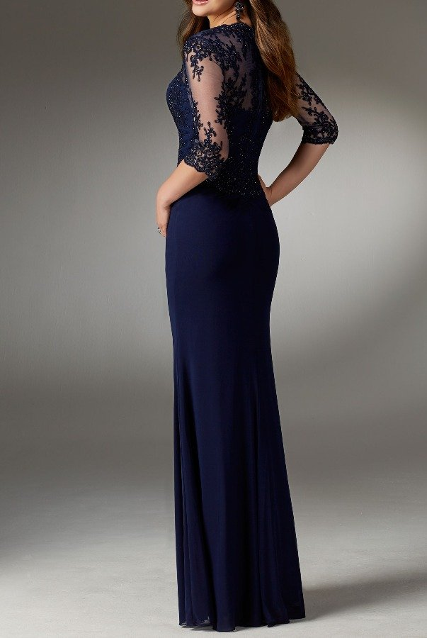 Mori Lee 71519 Stretch Beaded Lace Sleeve Navy Evening Gown