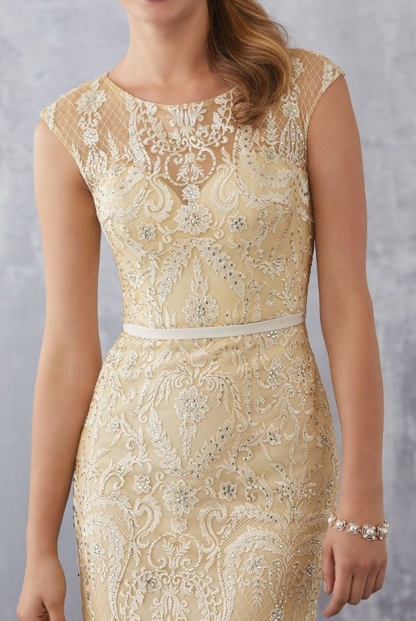 Mori Lee 71711 Beaded Embroidery Champagne Gold Dress Gown