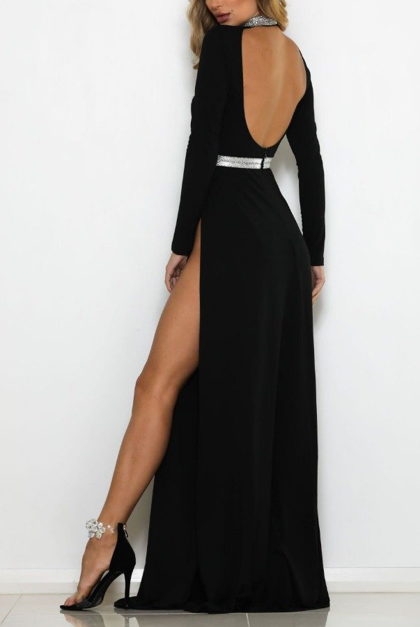 Abyss Medusa Black Long Sleeve Evening Gown Open Back