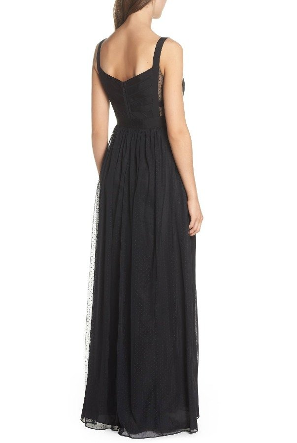 Adrianna Papell Black Ribbon Bodice Point d'Esprit Gown Dress