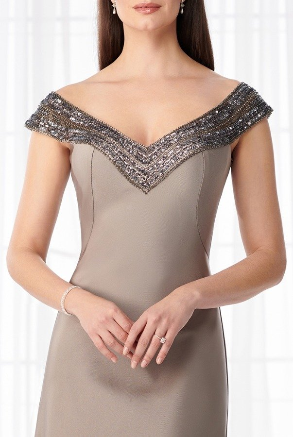 Mon Cheri Beaded Off Shoulder Stretch Crepe Gown 218616W