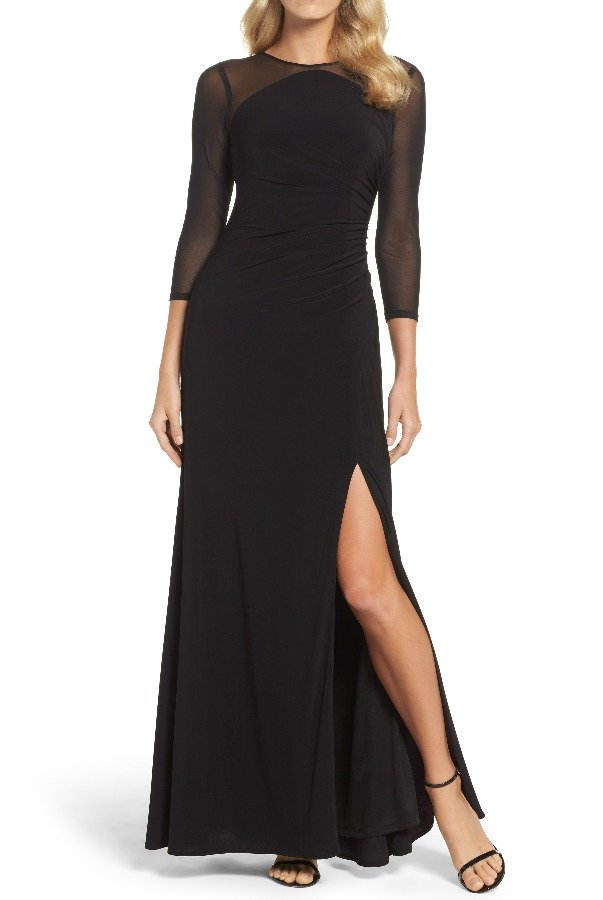 Adrianna Papell Black Long Sleeve Illusion Stretch Jersey Gown