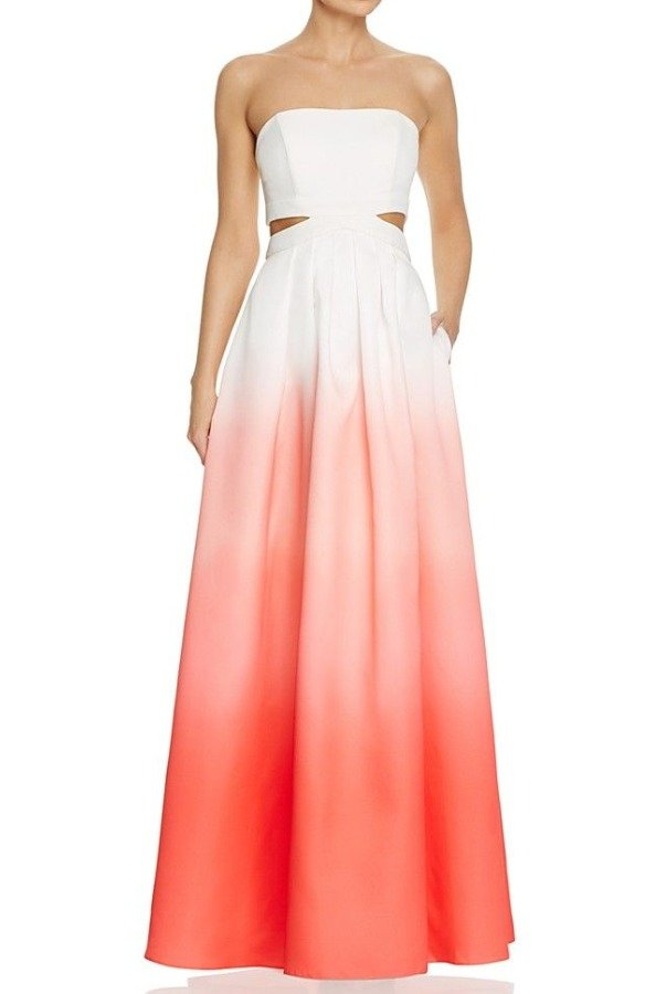 Decode 18 Ivory Coral Ombre Cutout Ball Gown Dress